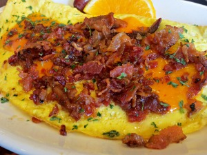 Pancakery bacon omelette