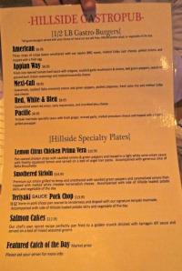 Hillside Gastropub menu 2