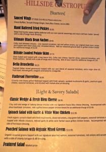 Hillside Gastropub menu
