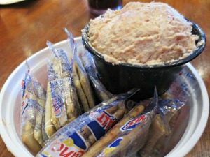Stinky's crackers and bean butter