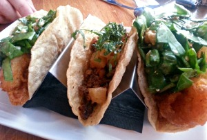 Django pork and shrimp tacos