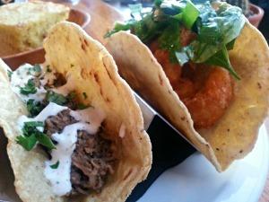Django shrimp and beef taco