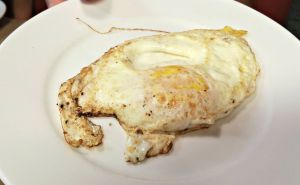 Breakfast table fried egg