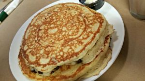 Breakfast table pancakes
