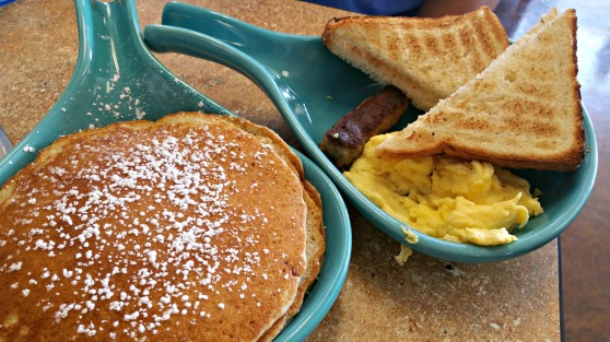Kid breakfast with pancakes