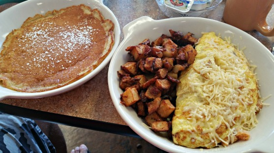 Seafood Omelet and pancakes